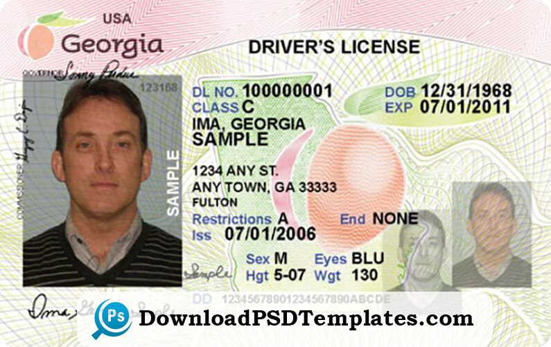 Georgia Driver S License Editable Psd Template Download Georgia Driver S License Editable Psd Templa Id Card Template Drivers License Psd Template Downloads