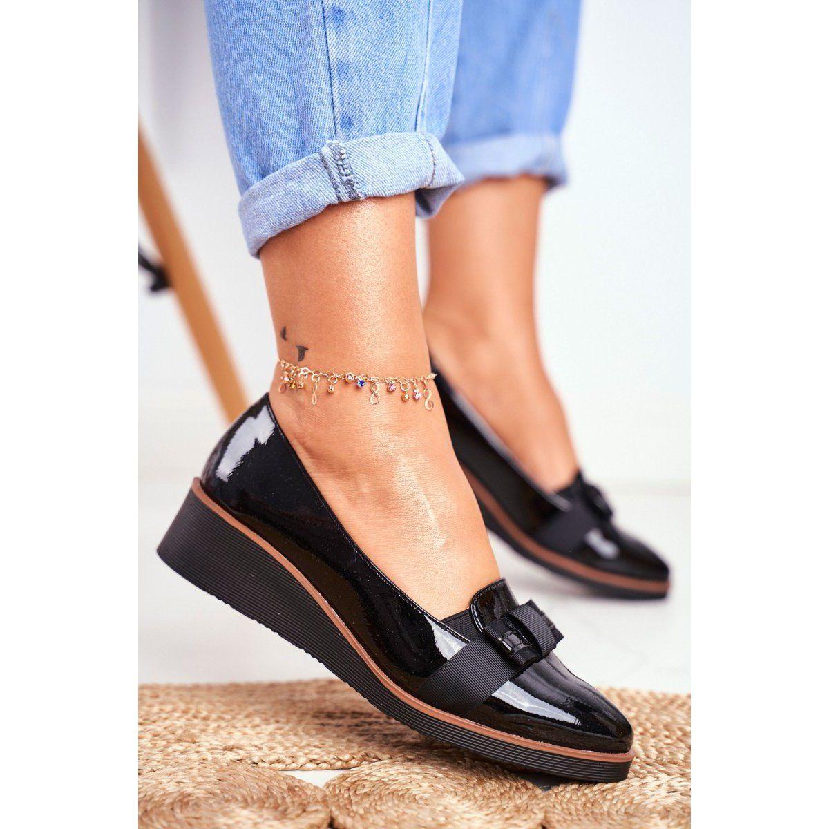 Vinceza Damskie Polbuty Na Koturnie Lakierowane Czarne Milona Heels Kitten Heels Shoes