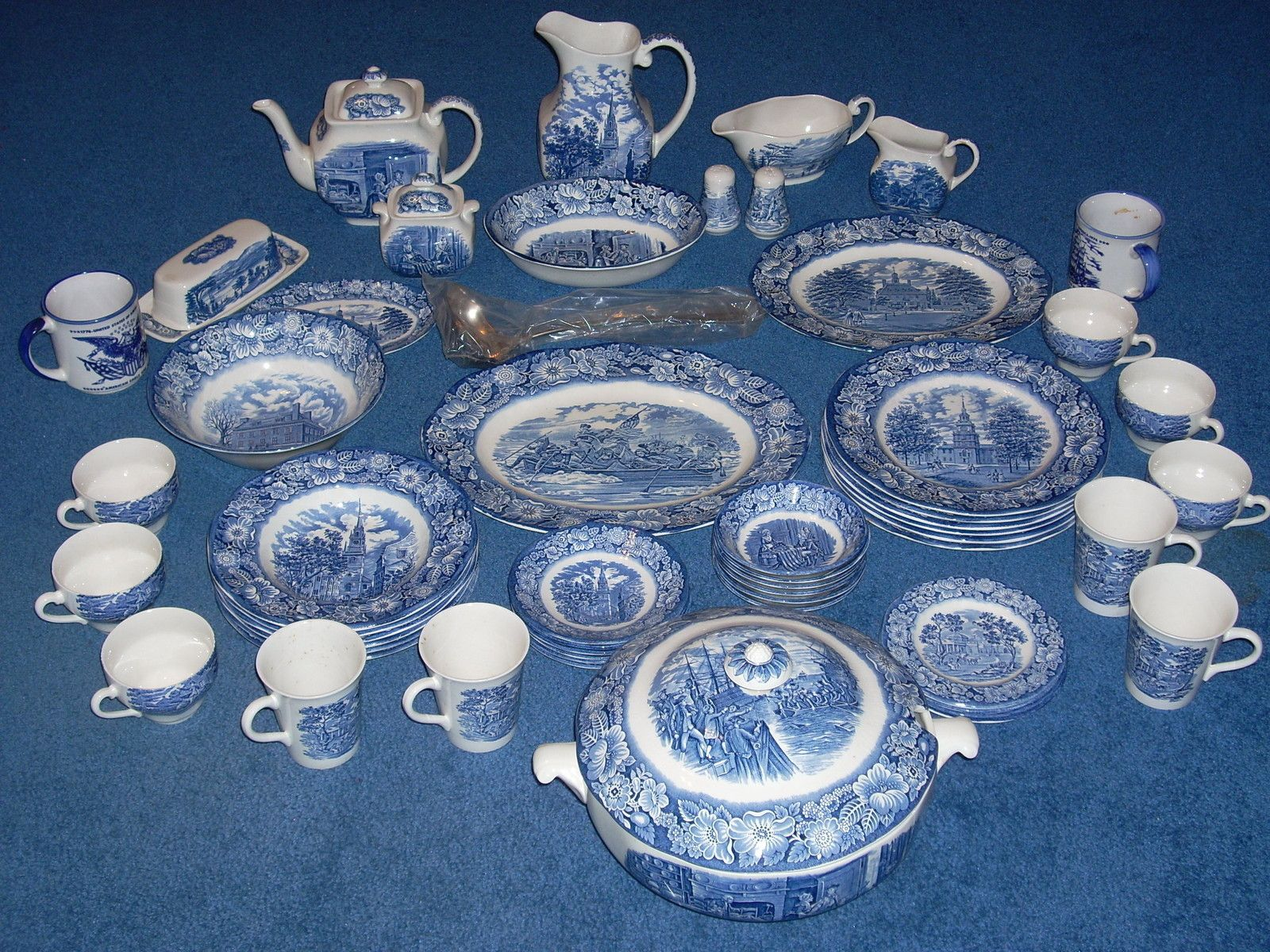 Liberty Blue Bicentennial Staffordshire China Complete Set Historic Colonial Ebay