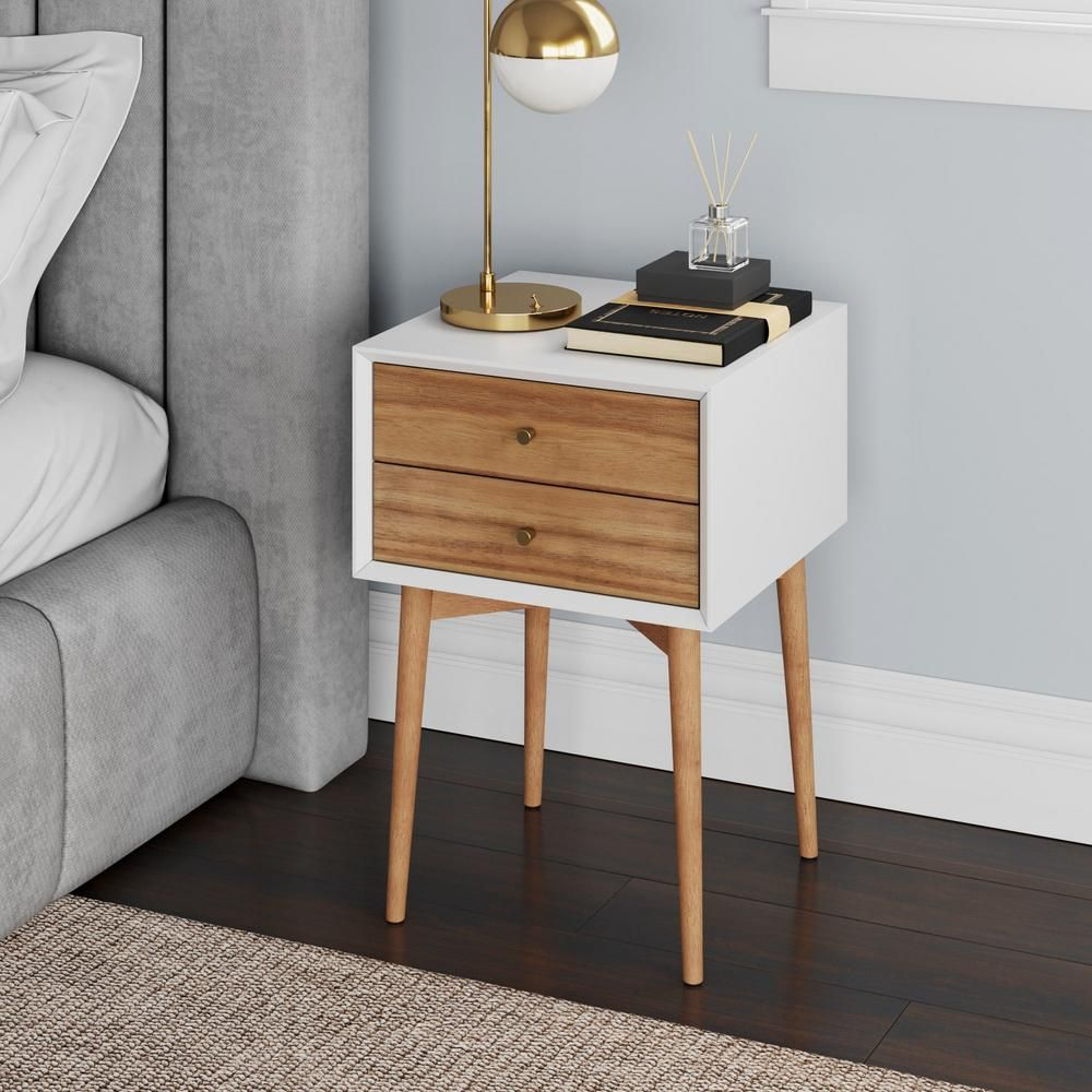 Nathan James Harper Brown And White Nightstand With 2 Drawer Wooden Side Table Or End Table 32702 The Home Depot Mid Century Side Table Wooden Side Table Brown Nightstands