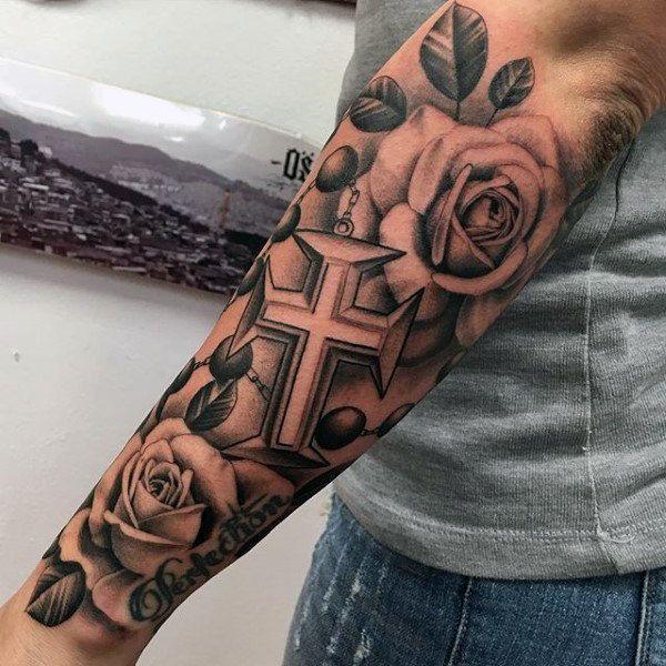 92e61b29e 100 Rosary Tattoos For Men - Sacred Prayer Ink Designs | Fashion ...