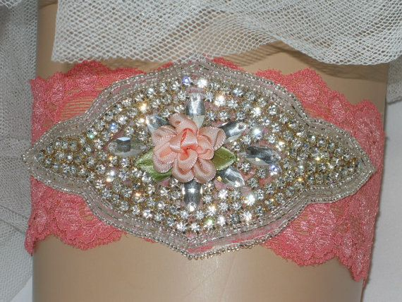 Coralrose stretch lace with gorgeous rhinestone by ArtHouseBridal, $38.00