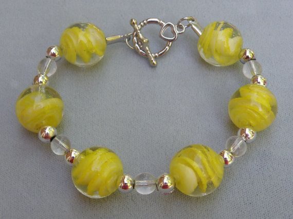 New Yellow Clear Glass Bead Bracelet Toggle by HandmadeVisions, $14.00