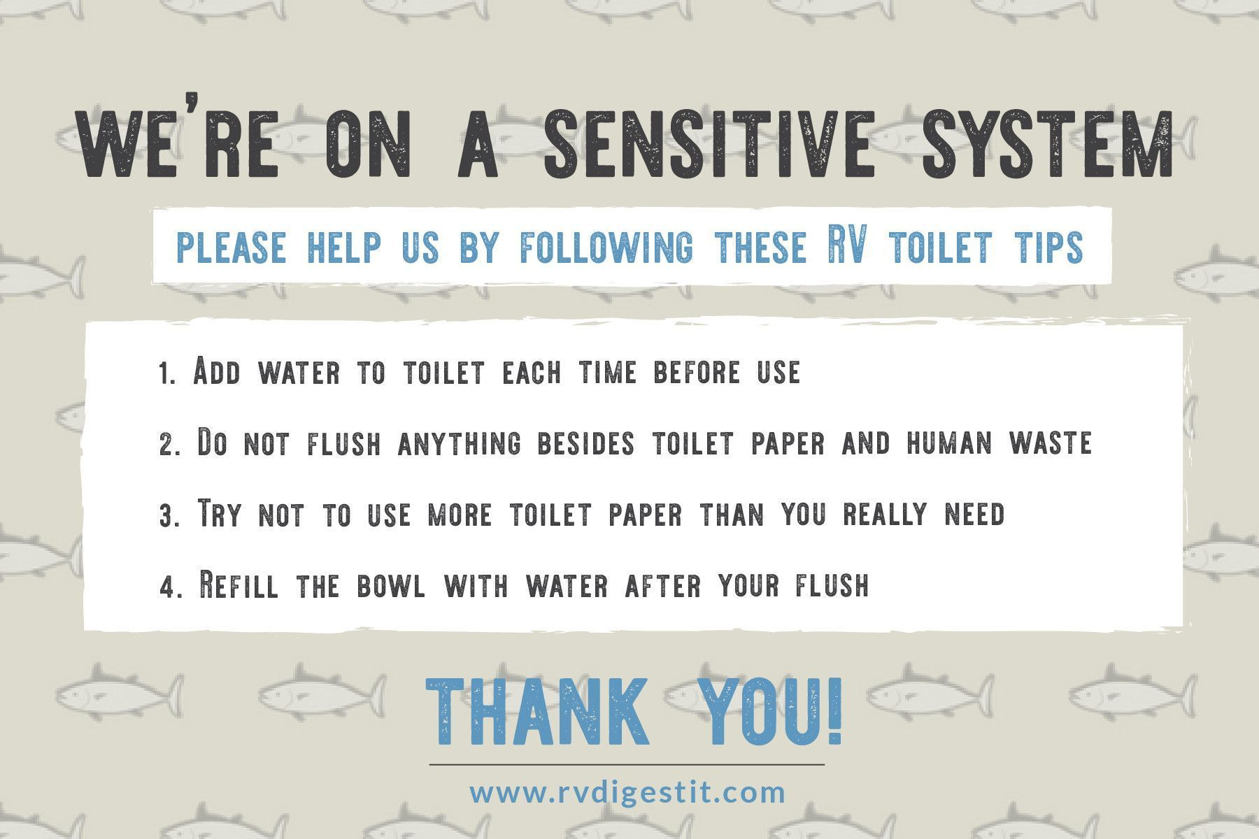 Rv Bathroom Toilet Rules Sign Fish 6 X 4 Bathroomtoilets