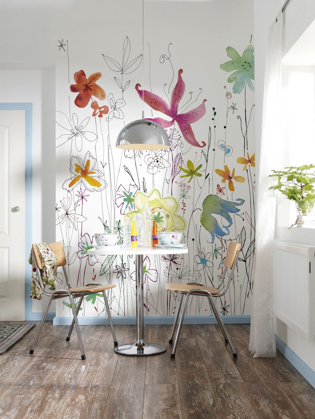 Fleurs Dessins panoramique Komar Walls Wall murals and Interiors