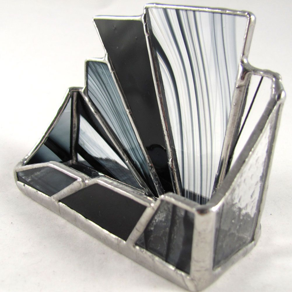 Rays of Black Hand Crafted Stained Glass Business Card Holder. $24.00, via Etsy.