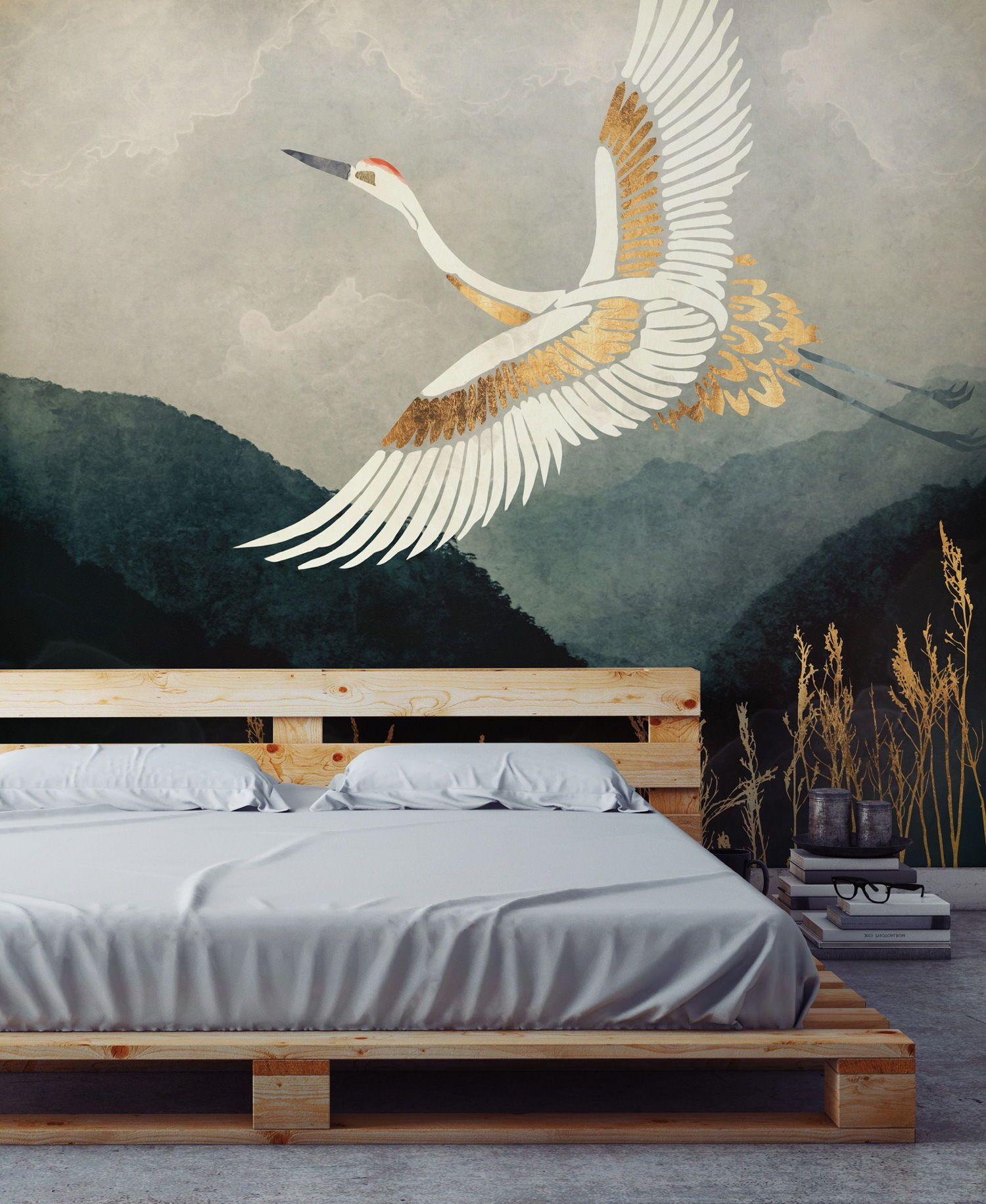 Elegant Flight in 2020 | Wallpaper bedroom feature wall ...