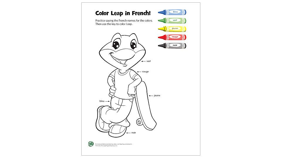 Color Leap in French | Free Kids' Coloring Pages ...