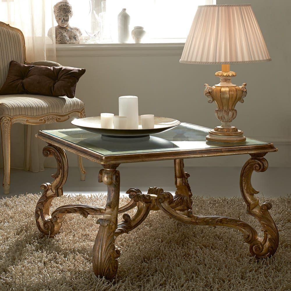 Designer italian antique silver square glass coffee table