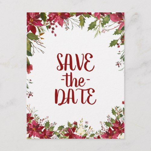 christmas holiday poinsettia wedding save the date announcement