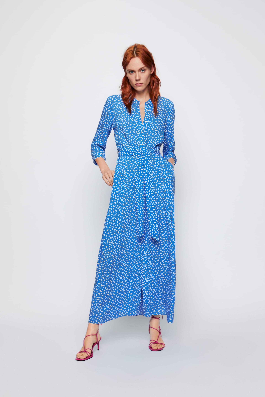 langes kleid mit print - maxikleid-kleider-damen | zara