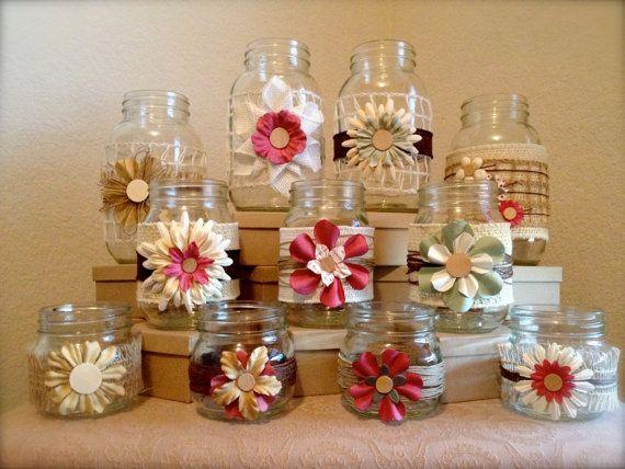 Country Burlap Centerpiece : Country chic handmade burlap jute inspired mason jars set