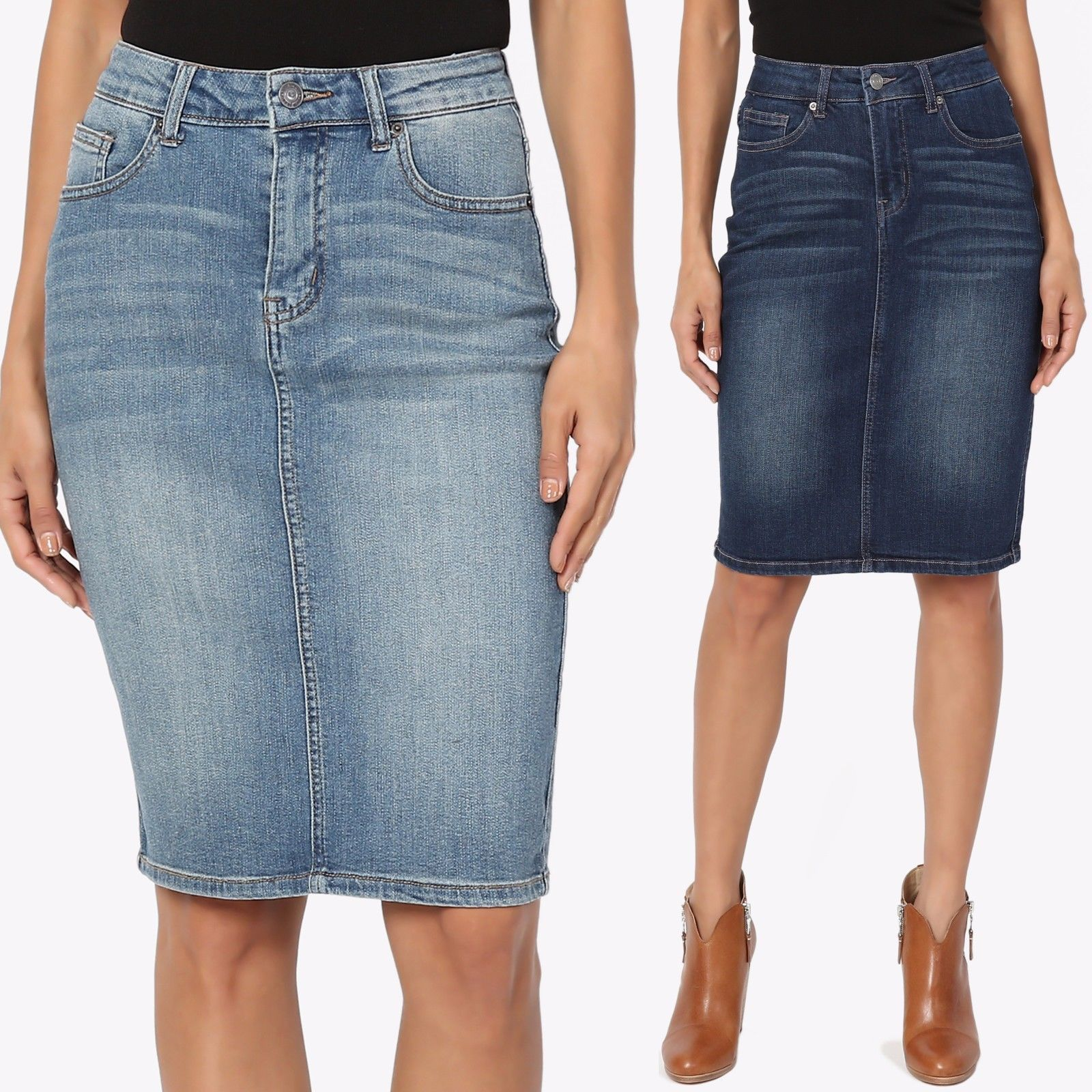 #SG-75933 NWT Stretch Denim Indigo Wash Mid Length Pencil Skirt,size S to 3XL