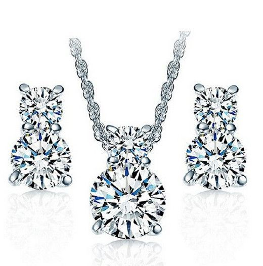 925 Sterling Silver Wedding Necklace and Earring Set Cheap Fashion
