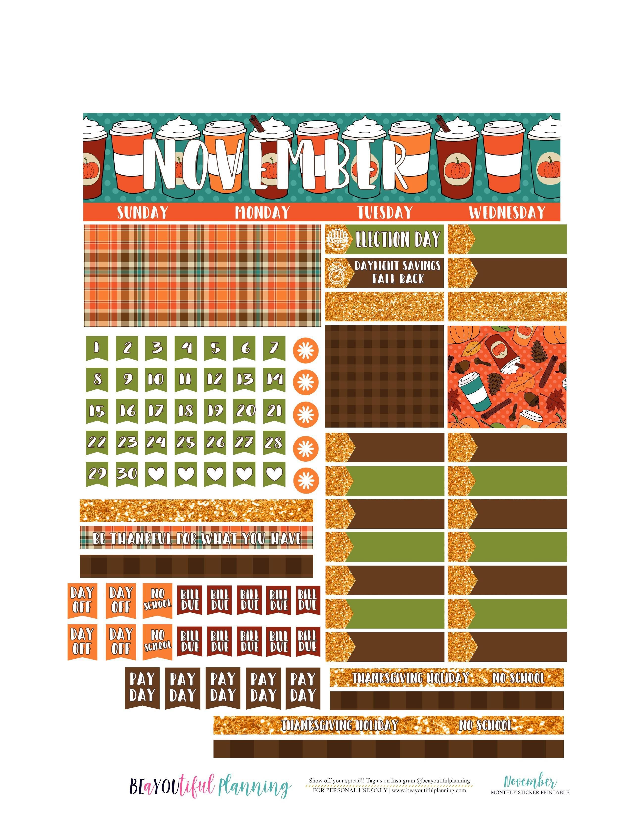 I have November Monthly sticker printables for both the Classic Happy  Planner and Erin Condren. Happy Planner PDF Files CLICK TO DOWNLOAD Happy Planner  Cut ...