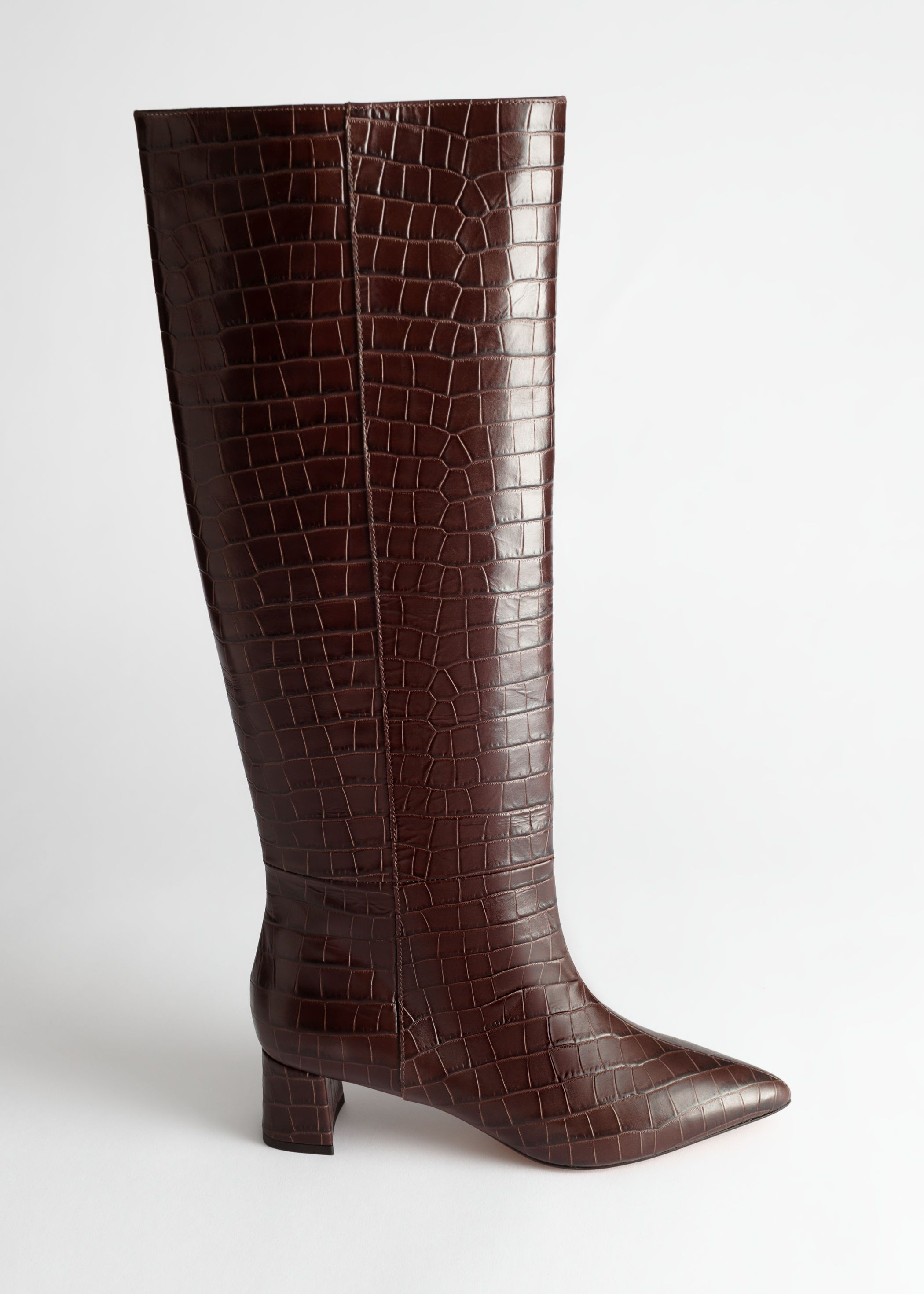 Croc Leather Knee High Boots &Other Stories | Boots