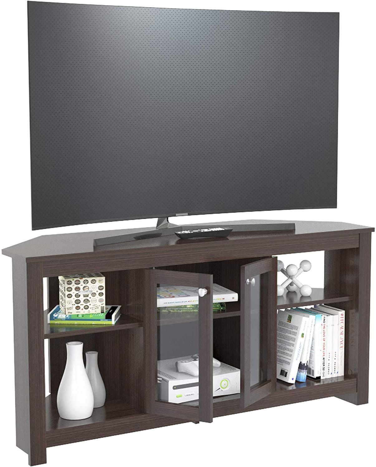 Inval Corner Tv Stand With Glass Doors Espresso Home Kitchen Furniture Liv In 2020 Tv Stand With Glass Doors Living Room Entertainment Center Corner Tv Stand