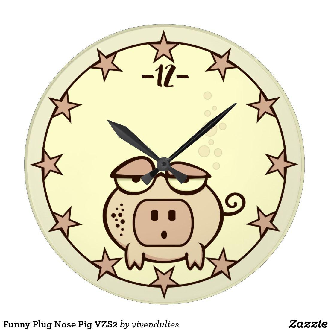 Funny Plug Nose Pig VZS2 Large Clock | Large clock and Clocks