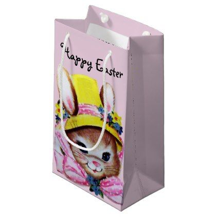 Retrovintage easter bunny pink small gift bag small gift bags retrovintage easter bunny pink small gift bag retro gifts style cyo diy special negle Choice Image