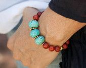 Bracelet of Turquoise and Coral Mediterranean Red by MartaDissenys