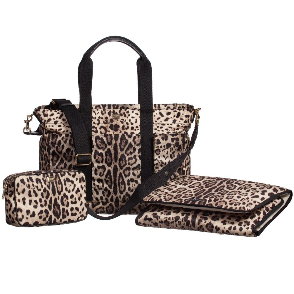 573bb8c370 Dolce   Gabbana Brown Leopard Print Baby Changing Bag (41cm) at  Childrensalon.com