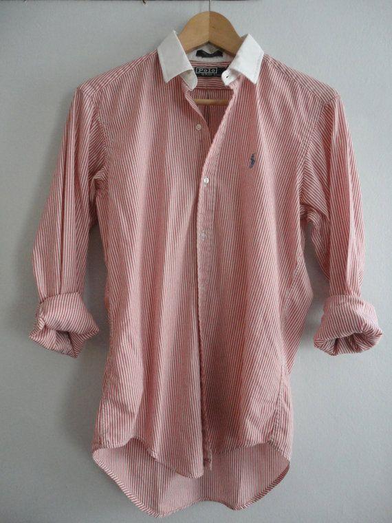 Vintage Polo Ralph Lauren Pink Striped Casual Dress Shirt. Sz S/M. Unisex.. $35.00, via Etsy.