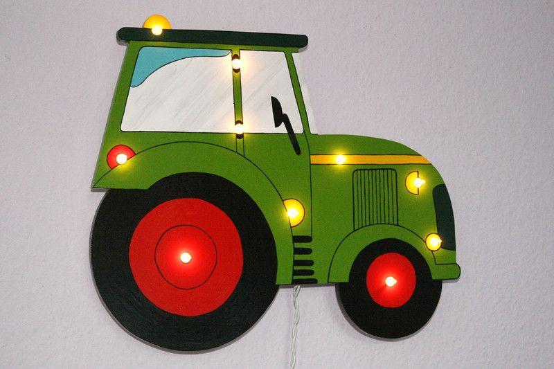 Schlummerlampen Schlummerlicht Traktor 10 Lampchen Wunschfarbe Ein Designerstuck Von Holzlicht Bei Dawanda Bastelideen Basteln Mit Holz Basteln