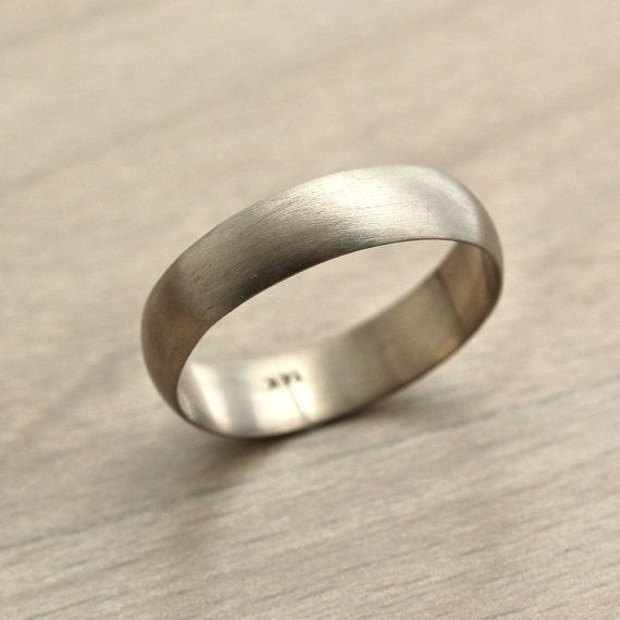 Men S White Gold Wedding Band 5mm Half Round Recycled 14k Palladium Ring Brushed Groom Made To Order