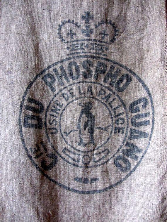 Vintage French Hessian Sack Burlap Jute by PoitouBrocante on Etsy,