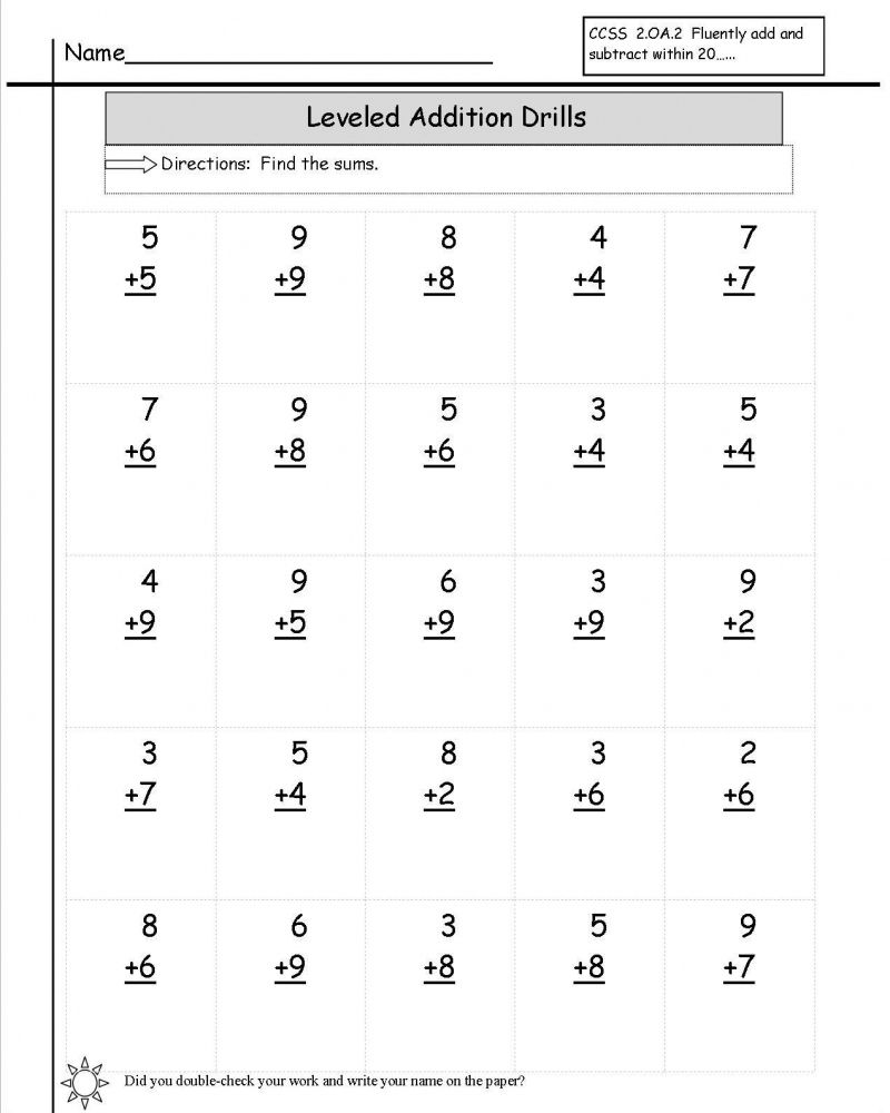 Printable Math Addition Worksheets For 1st Grade di 2020