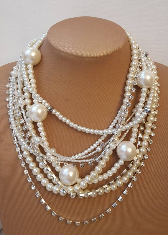 Handmade chunky multilayer pearl rhinestone necklace,statement multistrand pearl boho wedding necklace, 2017 trending jewelry, bold necklace is part of Boho wedding necklace, Jewelry trends, Wedding necklace, Gorgeous necklaces, Extraordinary necklace, Bold necklace - Handmade chunky multilayer pearl rhinestone necklace,statement multistrand pearl boho wedding necklace, 2017 trending jewelry, bold necklace