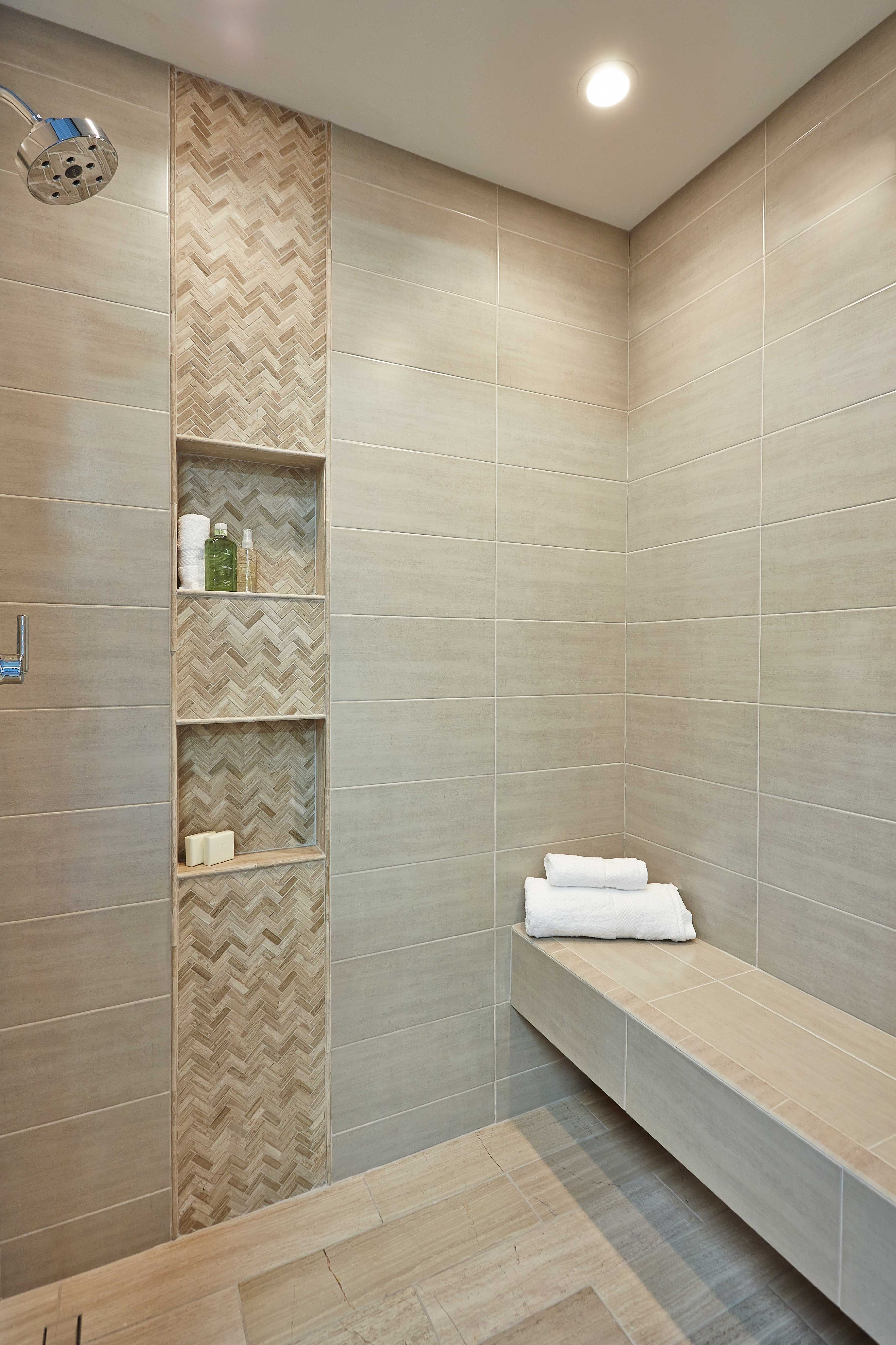 Bathroom shower accent wall tile legno small herringbone for Bathroom designs using mariwasa tiles