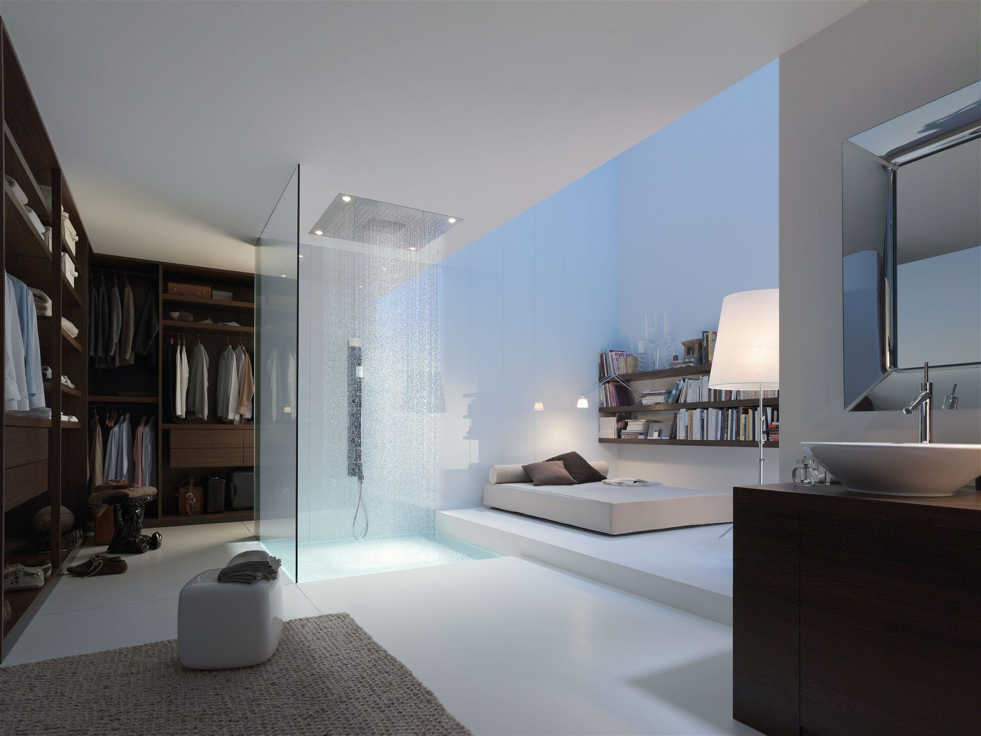 Recessed ceiling shower head / square / rain / with built-in light ...