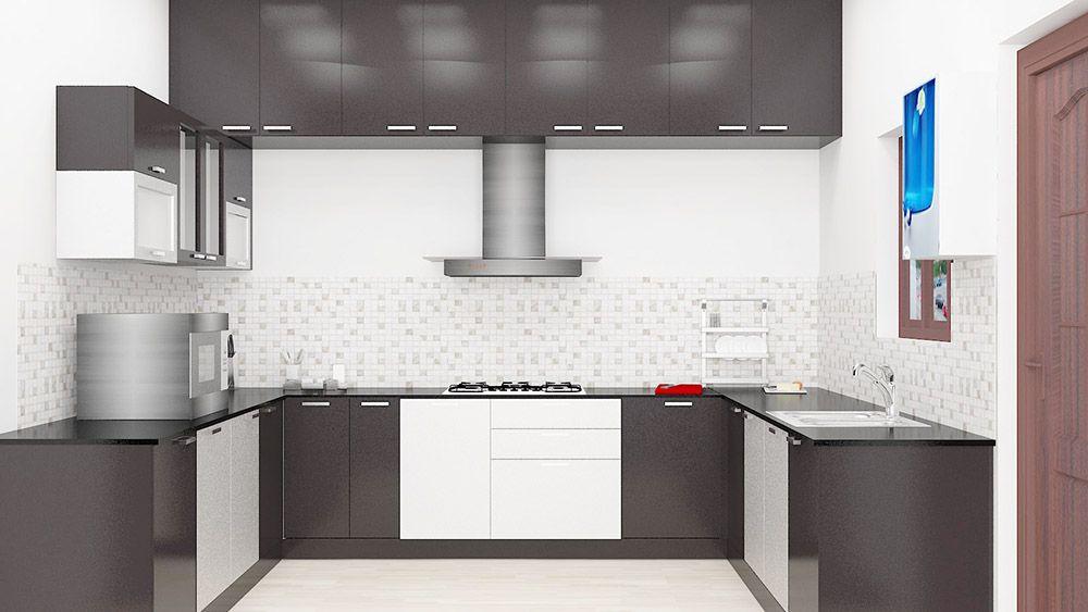 Modular U Shaped Kitchen Made Up Of Plywood With Laminate Finish Efficient Kitchen Designed To Kitchen Furniture Design Kitchen Modular Online Kitchen Design