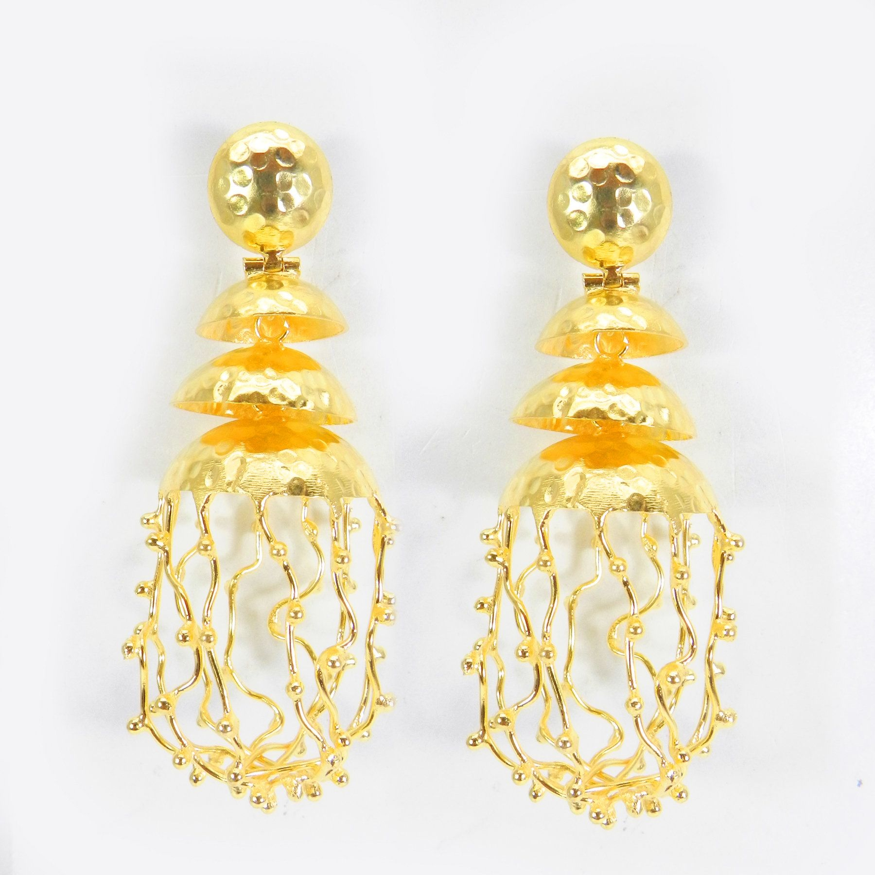 Yellow earrings on gold plated wires