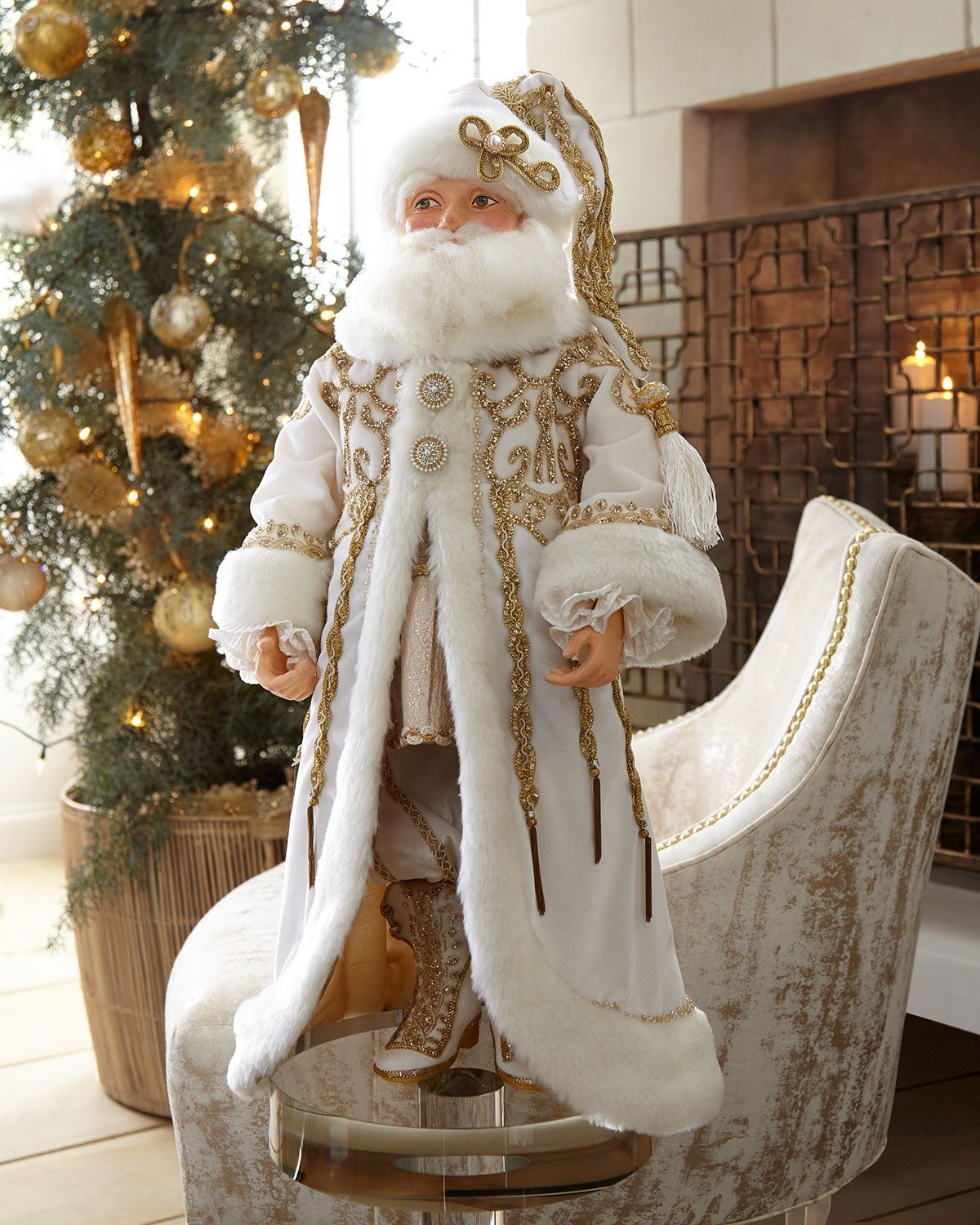 a30ae19977a83 Katherine s Collection Thread of Gold Santa Doll