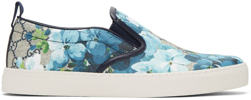 dcdbeaa7ea817 GUCCI Beige   Navy Gg Supreme Floral Slip-On Sneakers.  gucci  shoes   sneakers