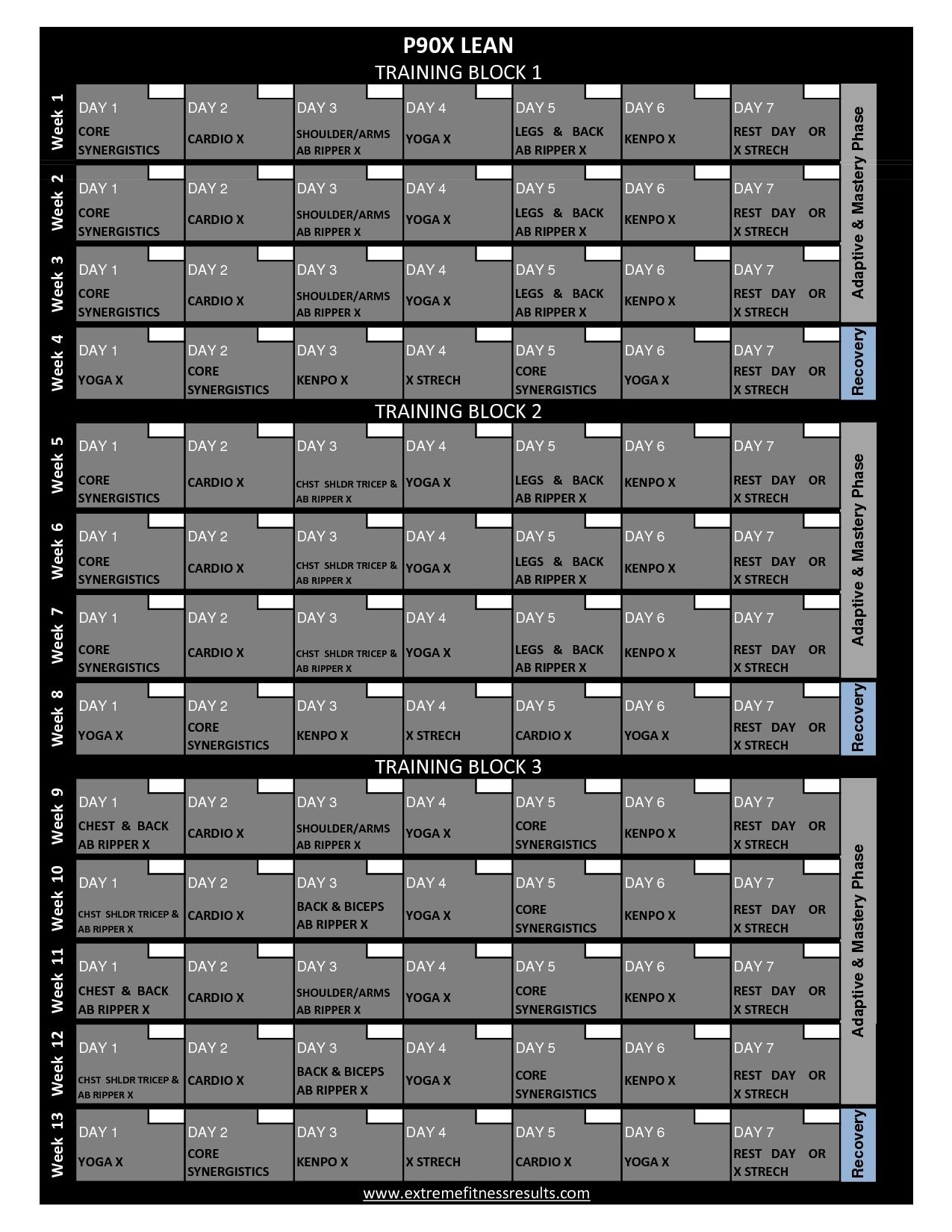 P90x Workout Calendar Printable P90x Classic Schedule