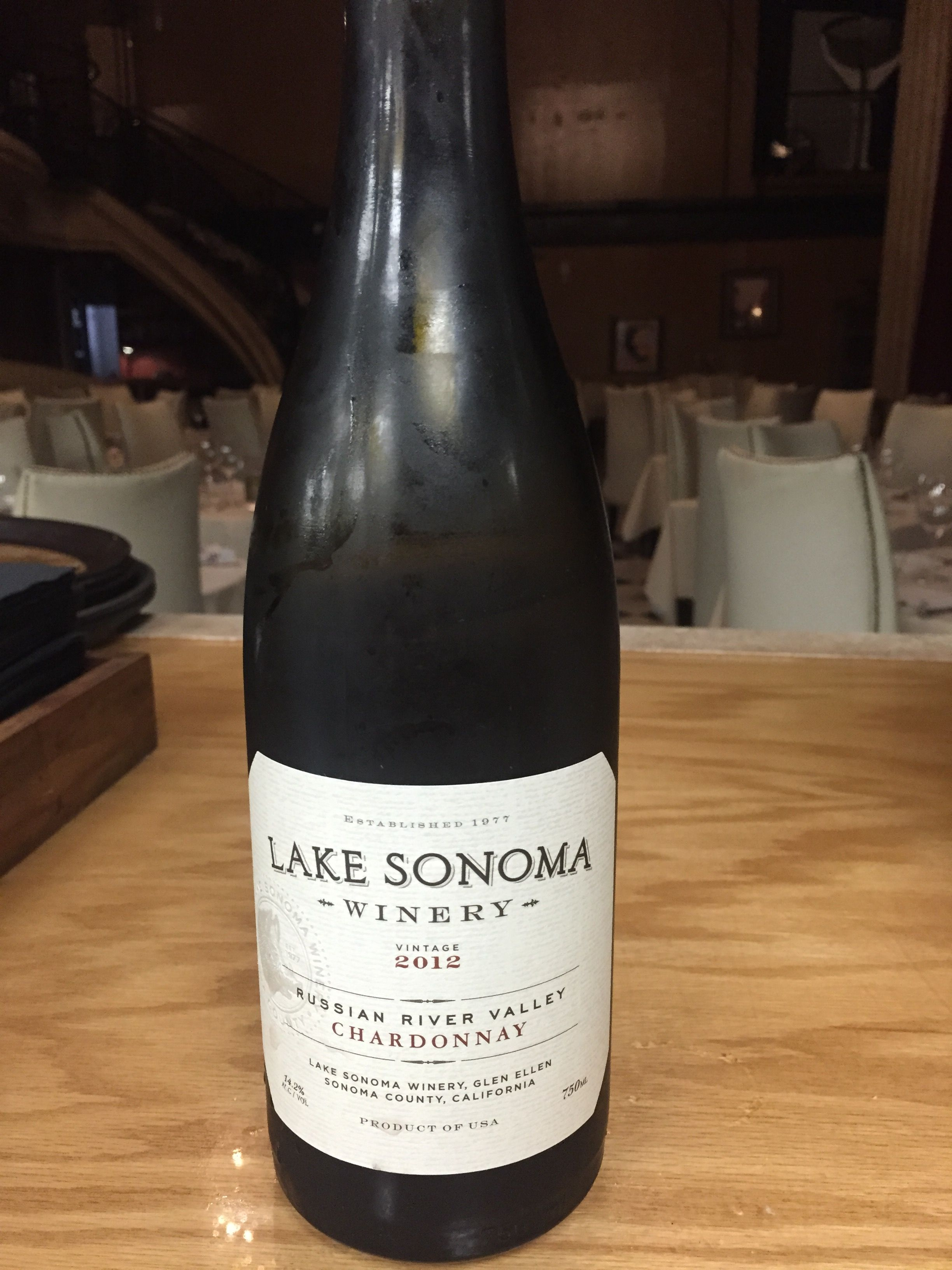 Lake Sonoma Chardonnay, Russian River ('12) $12, $48 - Easy drinking with a creamy texture and flavors of honey, peach, and orange