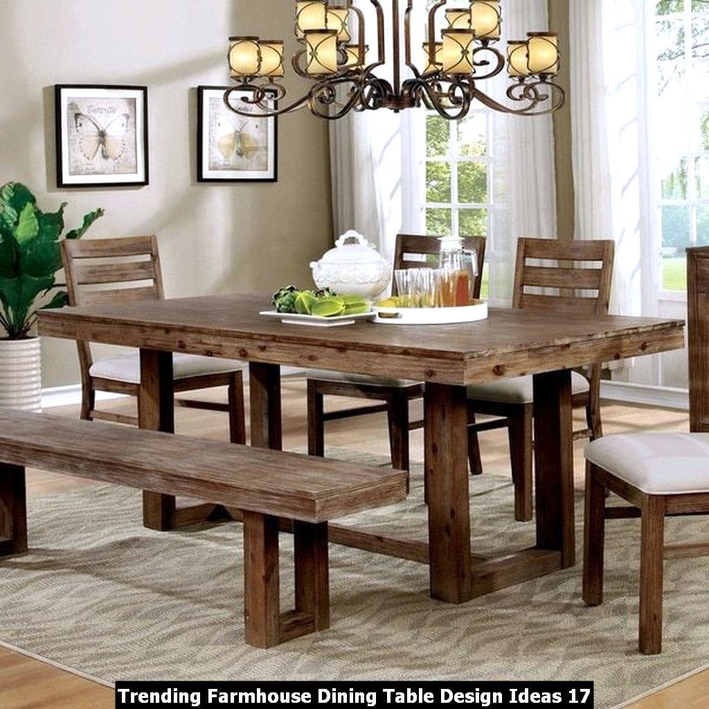 Trending Farmhouse Dining Table Design Ideas In 2020 Farmhouse Dining Room Table Solid Wood Dining Table Farmhouse Dining Table