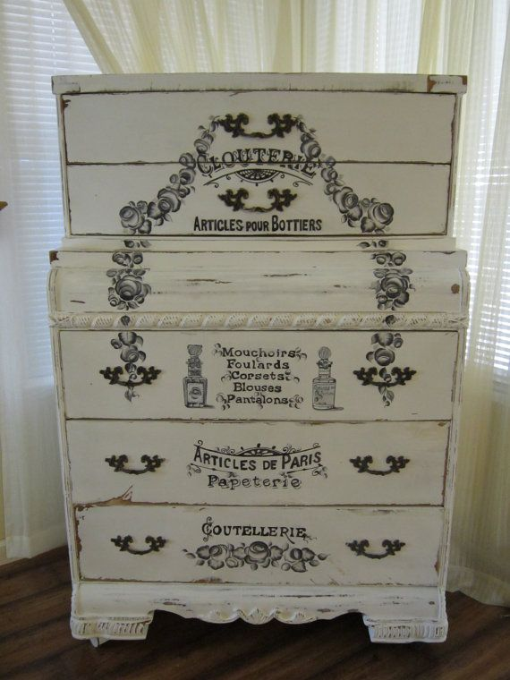 Antique Shabby Chic Handpainted Dresser From Etsy Com Drawers