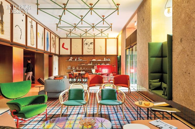 The lobby of Milan's Room Mate Giulia hotel, designed by Patricia Urquiola with DWA, contains Urquiola's bentwood chairs. Photography by Ricardo Labougle.