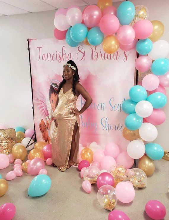 Pink and Tiffany Blue Heaven Sent Theme Baby Shower Backdrop   Twincess Theme Backdrop   Baby Shower