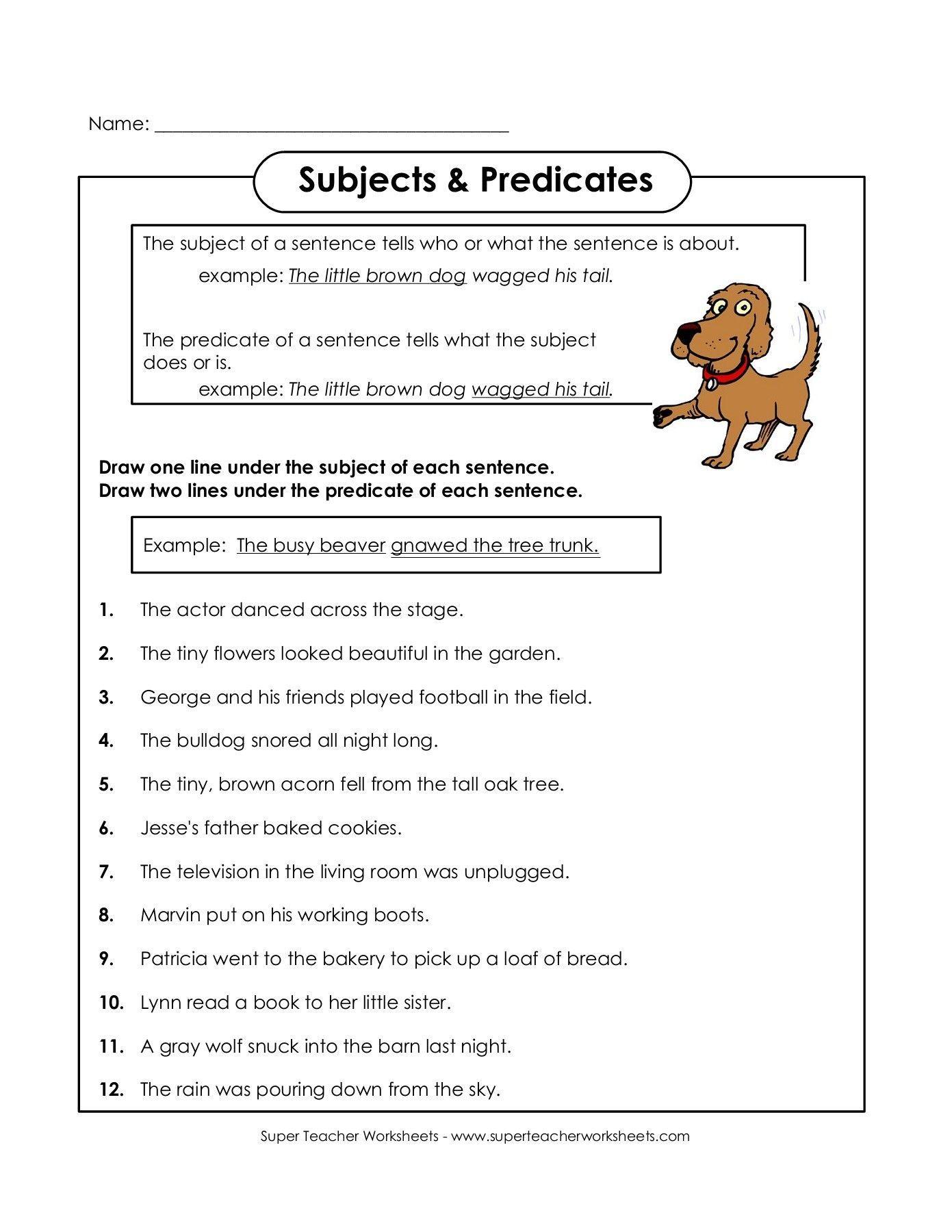Subjects Predicates Super Teacher Worksheets 770748923711030764 Super Teacher Worksheets Subject And Predicate Subject And Predicate Worksheets [ 1800 x 1391 Pixel ]
