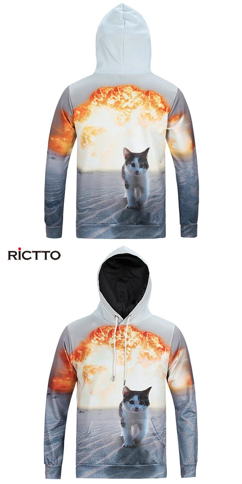 fb8900a811c Rictto Autumn Winter Fashion Cap Hoodies Men Long Sleeve Pullovers Print  Sand Cat Casual Hoody 3d lovely Sweatshirt