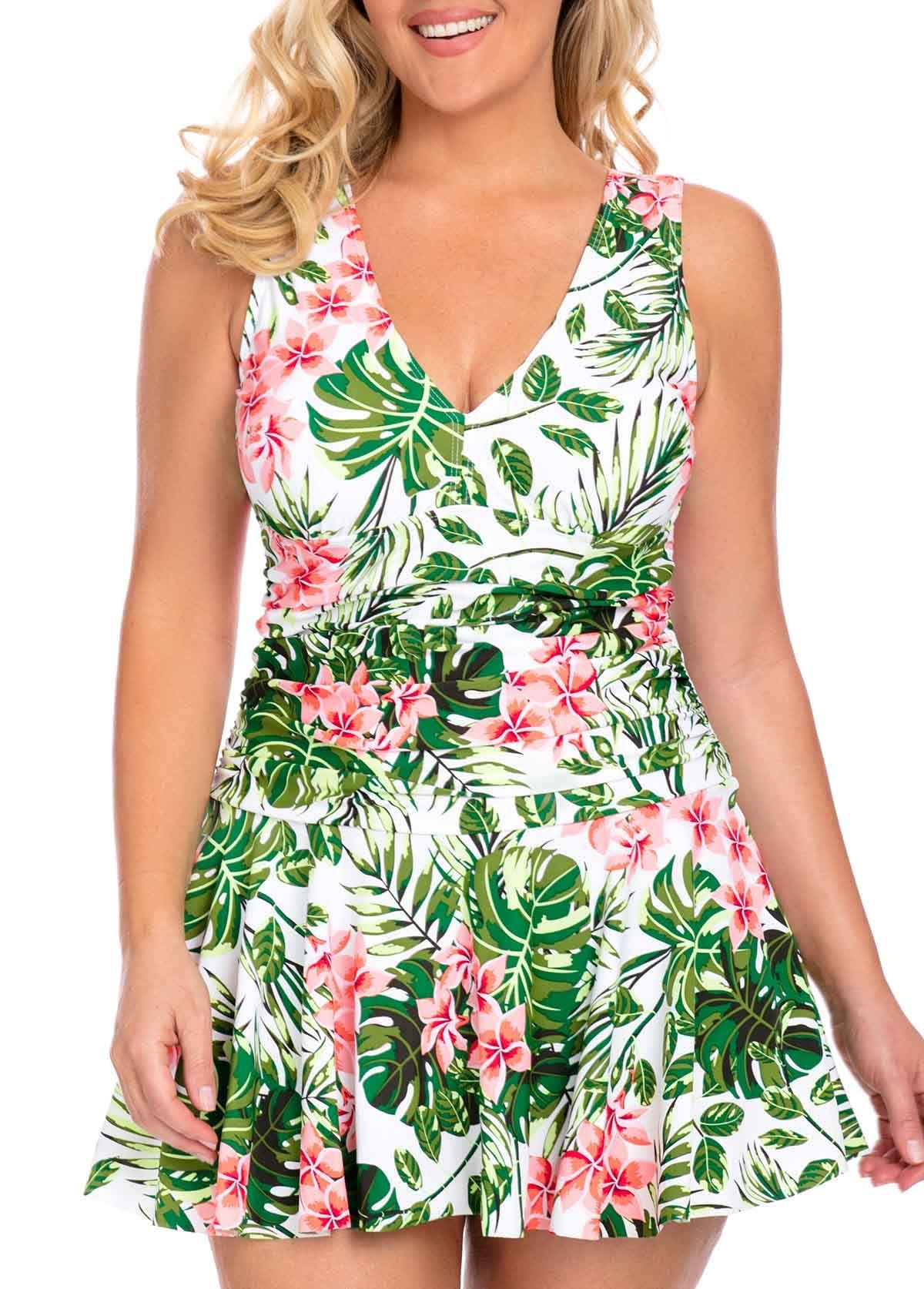 27971636392 Plus Size Tropical Print V Neck Padded Swimdress and Shorts | Rotita ...
