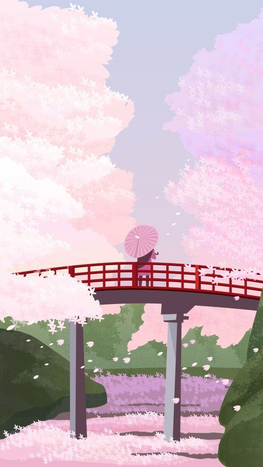 Cherry Blossom Anime Background : cherry, blossom, anime, background, Cherry, Blossom, Pastel, Landscape,, Anime, Scenery, Wallpaper,, Wallpaper, Iphone