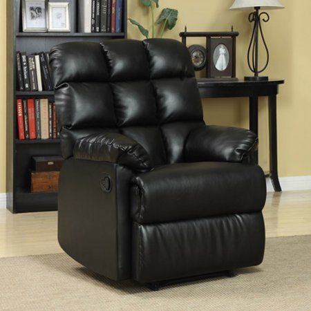 Prolounger Wall Hugger Biscuit Back Renu Leather Recliner Chair Multiple Colors Black