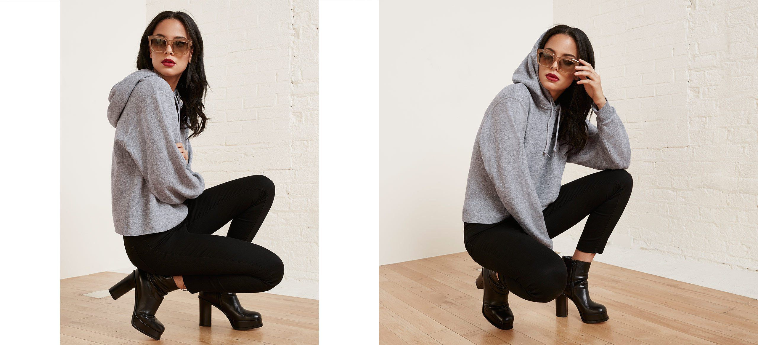 Put your hood up. This is a cropped vintage hoodie sweatshirt with a crew neckline and drawstring.