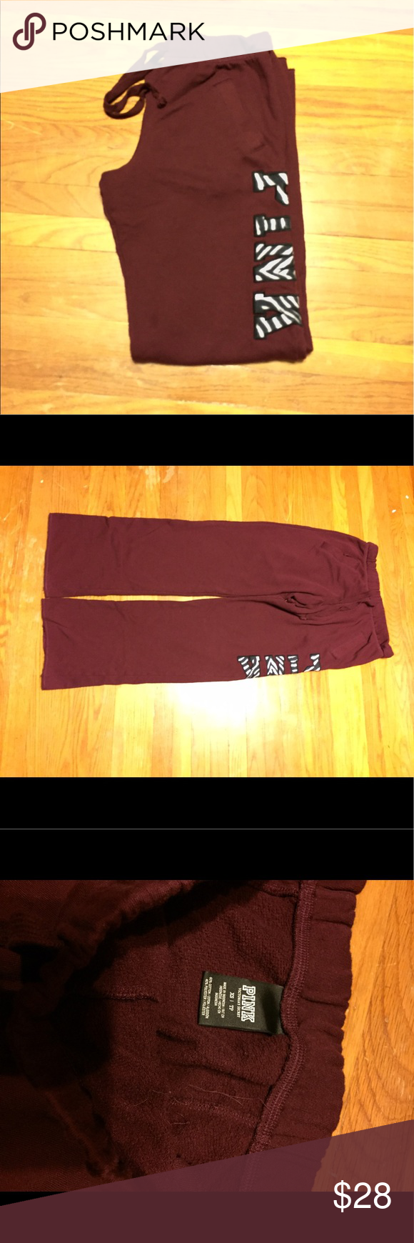 """VS PINK Boyfriend Pant Burgundy Boyfriend Pant • Like new barely worn • No rips or tears on bottoms of leg openings • Size XS but can fit a small, they are very oversized • 32"""" inseam PINK Victoria's Secret Other"""